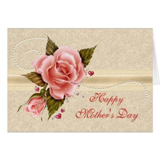 ピンクのバラの母の日 カード