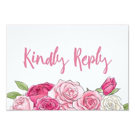 ピンクのバラの水彩画花の結婚RSVPのカード 8.9 X 12.7 インビテーションカード