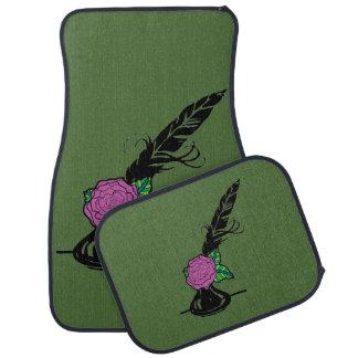ピンクのバラの深緑色の自動マットが付いているクイルそしてインク カーマット