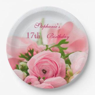 ピンクのバラの第17誕生日の花束 紙皿 大