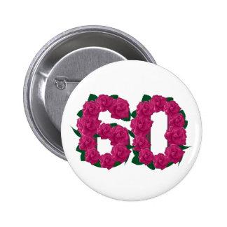 ピンクのバラの第60第60花柄 5.7CM 丸型バッジ