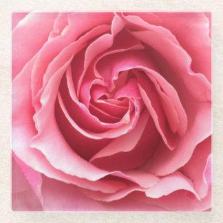 ピンクのバラの終わりのガラスコースター ガラスコースター