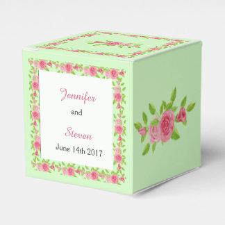 ピンクのバラの結婚式の引き出物箱 フェイバーボックス