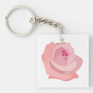 ピンクのバラの絵 キーホルダー
