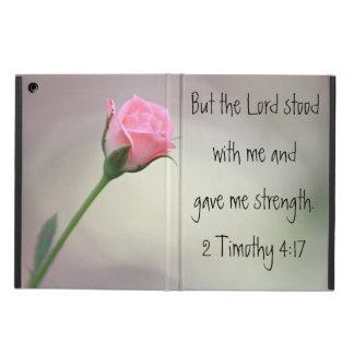 ピンクのバラの聖書の詩2のテモテの4:17のiPadの空気箱 iPad Airケース