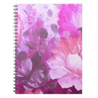 ピンクのバラの花のヴィンテージの水彩画の芸術のノート ノートブック