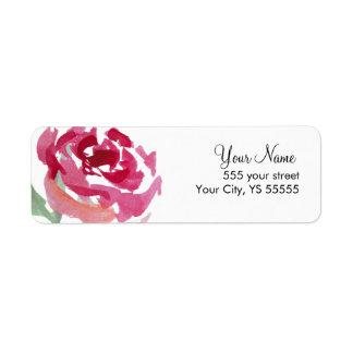 ピンクのバラの花の水彩画のデザイン ラベル