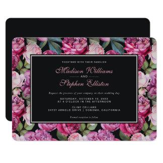 ピンクのバラの花の水彩画-結婚式 カード