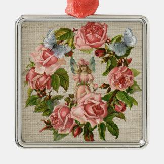 ピンクのバラの花の菌輪のクリームのバーラップ メタルオーナメント