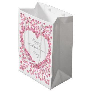ピンクのバラの花びらのハートのバレンタインのギフトバッグ ミディアムペーパーバッグ