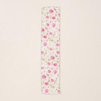 ピンクのバラの花パターンパステルカラー スカーフ