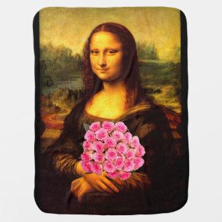 ピンクのバラの花束を持つモナ・リザ ベビー ブランケット