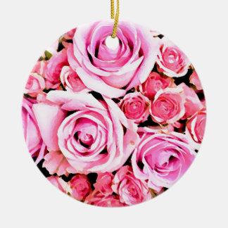 ピンクのバラの花束 セラミックオーナメント