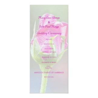 ピンクのバラの芽の結婚式プログラム カード