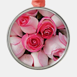 ピンクのバラの芽 メタルオーナメント