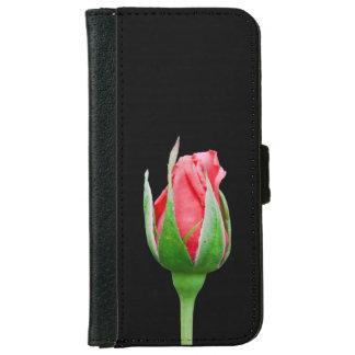 ピンクのバラの芽 iPhone 6/6S ウォレットケース