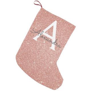 ピンクのバラの金ゴールドのグリッターおよび輝きのモノグラム スモールクリスマスストッキング