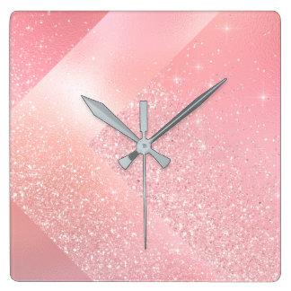 ピンクのバラの金ゴールドのグリッターのガラス灰色の抽象芸術 スクエア壁時計