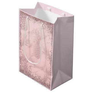 ピンクのバラの金ゴールドのグリッターのパイナップル熱帯パーティー ミディアムペーパーバッグ