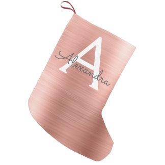 ピンクのバラの金ゴールドのステンレス鋼のモノグラム スモールクリスマスストッキング