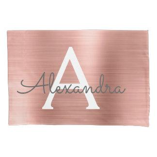 ピンクのバラの金ゴールドのステンレス鋼の名前およびIntital 枕カバー