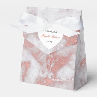 ピンクのバラの金ゴールドの大理石のハートの誕生日の結婚式の引き出物 フェイバーボックス