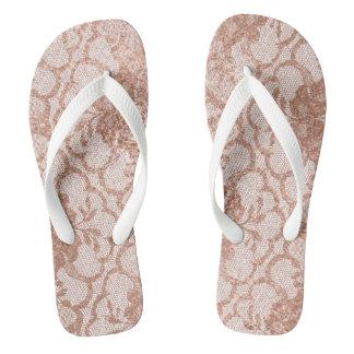 ピンクのバラの金ゴールドの模造のな粉の白いレースの水泳のプール ビーチサンダル