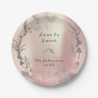 ピンクのバラの金ゴールドの花のリースの赤面の絹のブライダル ペーパープレート