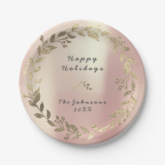 ピンクのバラの金ゴールドの花のリースの赤面の絹のブライダルVIP ペーパープレート