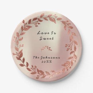 ピンクのバラの金ゴールドの赤面の花のリースの花嫁の結婚式 ペーパープレート