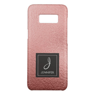 ピンクのバラの金ゴールド模造のなホイルのモノグラム Case-Mate SAMSUNG GALAXY S8ケース