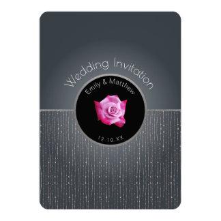 ピンクのバラの銀の白熱灰色の結婚式招待状 12.7 X 17.8 インビテーションカード