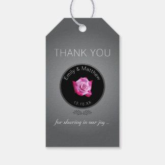 ピンクのバラの銀の白熱結婚式はギフトのラベル感謝していしています ギフトタグ