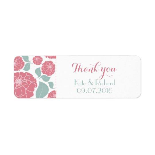 ピンクのバラは結婚のためにステッカーのラベル感謝していしています ラベル