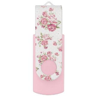 ピンクのバラパターンガーリーで抜け目がないドライブ USBフラッシュドライブ