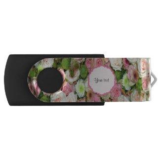 ピンクのバラ及び菊 USBフラッシュドライブ