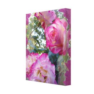 ピンクのバラ園のキャンバスプリント キャンバスプリント