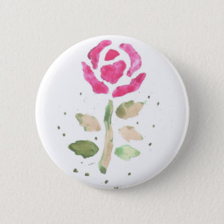 ピンクのバラ2 (金Turnbullの芸術による水彩画) 5.7cm 丸型バッジ