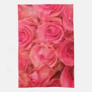 ピンクのバラ キッチンタオル