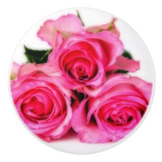 ピンクのバラ セラミックノブ