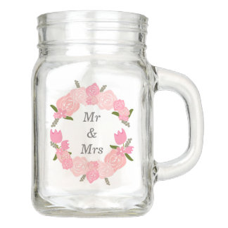 ピンクのバラ、チューリップ、花のリースの結婚式の引き出物 メイソンジャー