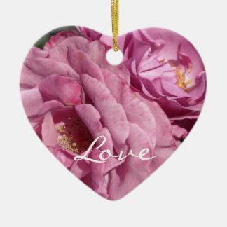 ピンクのバラ-愛 セラミックオーナメント