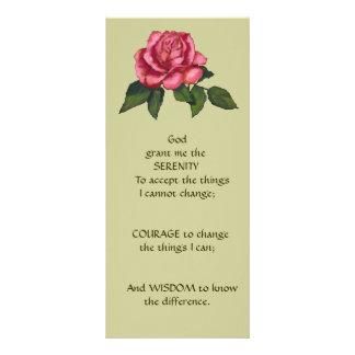 ピンクのバラ、花: 芸術: 平静の祈りの言葉 ラックカード