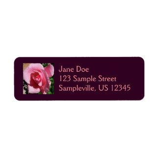 ピンクのバラ 返信用宛名ラベル