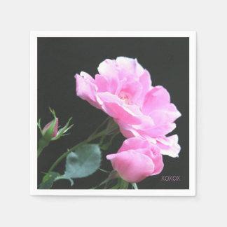 ピンクのバラXOXのナプキン スタンダードカクテルナプキン