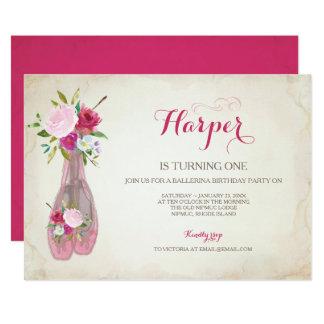 ピンクのバレエのスリッパの招待状 カード