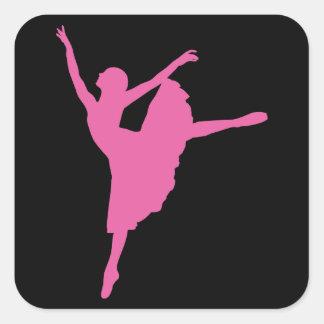 ピンクのバレエダンサー スクエアシール