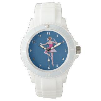 ピンクのバレリーナおよび数字の白 腕時計