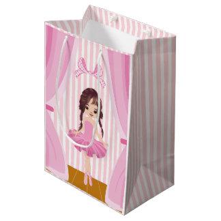 ピンクのバレリーナのテーマの誕生会のゲストの感謝 ミディアムペーパーバッグ