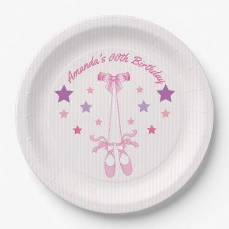 ピンクのバレリーナの名前入りなテーマの誕生会 ペーパープレート